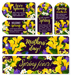 Flower tag for spring holiday or mother day design vector