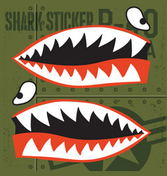 flying tigers warhawk usa shark mouth red sticker vector image