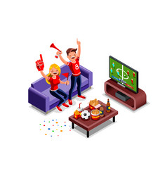 football fans watching world cup vector image