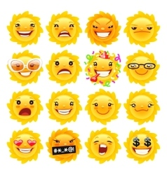 Fun sun emojis vector