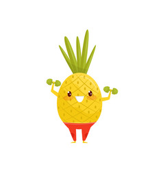 Funny pineapple exercising with dumbbells vector