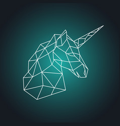 Geometric unicorn head side view vector