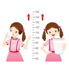 Girl drinking milk for health and taller girl vector