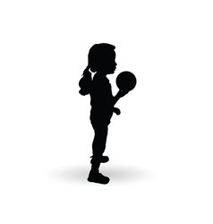 girl silhouette little and sweet with ball vector image