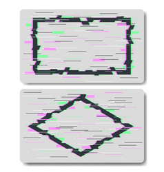glitch effects in rectangle and rhombus shape vector image