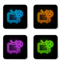 glowing neon tv with screwdriver and wrench icon vector image