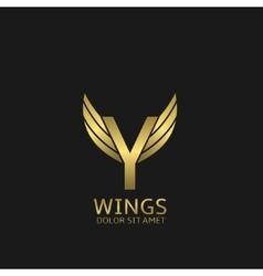 Golden Y letter logo vector image