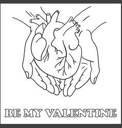 Greeting card be my valentine handdrawn monochrome vector