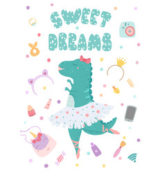 Greeting card poster with a dinosaur ballerina vector