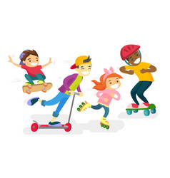 group of multiethnic children playing together vector image