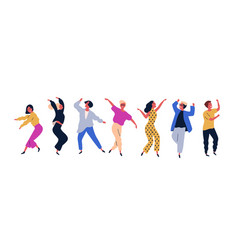 group young happy dancing people or male and vector image