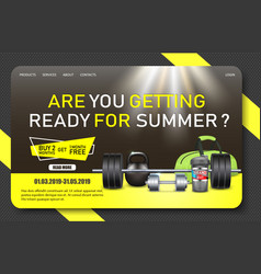 Gym promo landing page website template vector