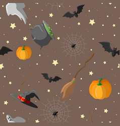 halloween seamless pattern design with witch hat vector image