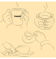 Hands with cups vector