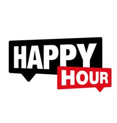 Happy hour label sign vector