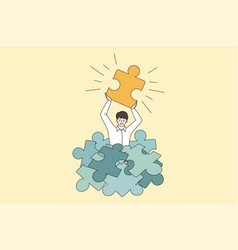 Happy man hold jigsaw puzzle find business vector