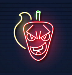 hot chili neon sign with fire night bright vector image