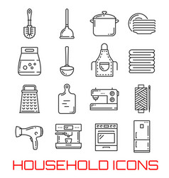Household line art icons for kitchen and bathroom vector