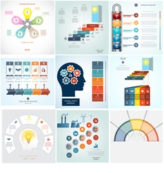 Infographics 9 templates five positions vector