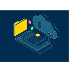 Isometric mobile cloud cloud storage or data vector