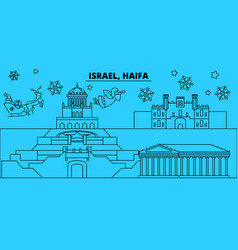 Israel haifa winter holidays skyline merry vector