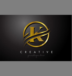 K golden letter logo design with circle swoosh vector
