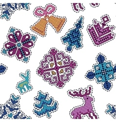 Knitted christmas patch pattern vector