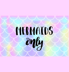 Lettering text mermaids only on background vector