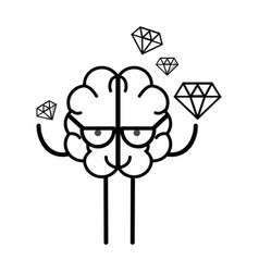Line icon adorable kawaii brain with a lot of vector