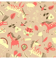 Magic doodle unicorns seamless pattern vector