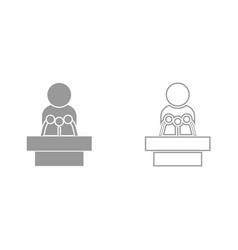 Man speaking from the rostrum it is black icon vector