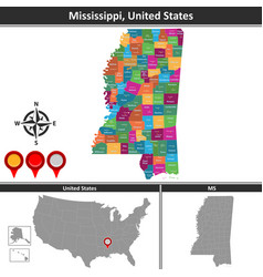 Map of mississippi us vector