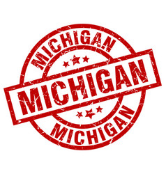 Michigan red round grunge stamp vector