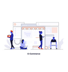 modern flat design concept - e-commerce vector image
