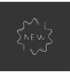 New tag Drawn in chalk icon vector