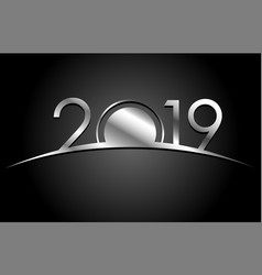 new year 2018 concept - silver sign vector image