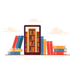 online education a mobile phone with library vector image