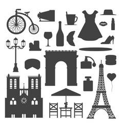paris icons silhouette famous travel vector image