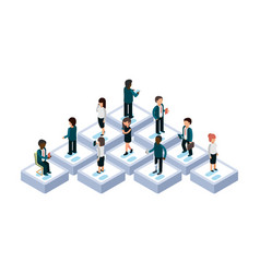 people chatting isometric people with gadgets vector image