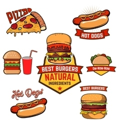 Pizza burger hot-dog in retro vector