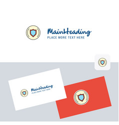 Protected sheild logotype with business card vector