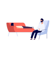 Psychotherapist and patient flat man on vector