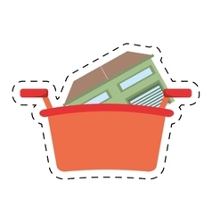 Real estate house shop basket cut line vector