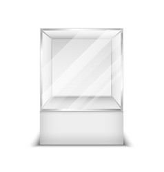 Realistic 3d glass box shop showcase vector image