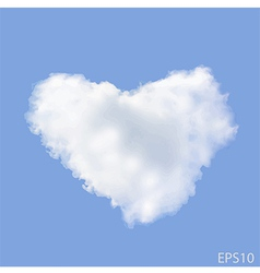 Realistic Heart shaped cloud in the blue sky vector image