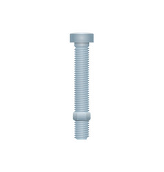 Realistic metallic bolt with nut vector