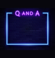 Retro neon violet question and answer frame vector
