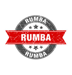 Rumba round stamp with ribbon label sign vector
