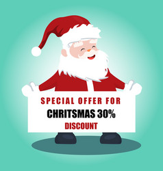 santa claus with christmas offer poster vector image