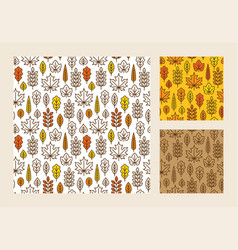 Seamless pattern with linear autumn leaves vector